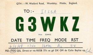 9693 Amateur Radio QSL Card WEMBLEY ENGLAND