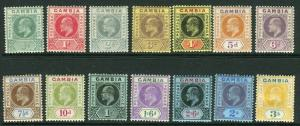 GAMBIA-1909  A mounted mint set of 14 Sg 72-85