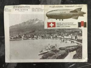 1929 Germany to Switzerland Graf Zeppelin Picture Postcard Cover