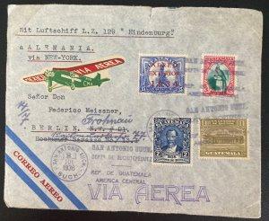 1936 San Antonio Guatemala Hindenburg Zeppelin LZ 129 Cover To Berlin Germany