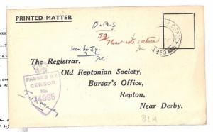 GB Cover Printed Matter REPTON SCHOOL Reply Form RAMC Captain WW2 c1944 BD68