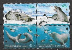 AAT MNH Block L118a-d Leopard Seals 2001