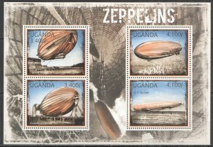 UG061 2012 UGANDA ZEPPELINS AVIATION DIRIGIBLES TRANSPORT #2916-2919 MNH