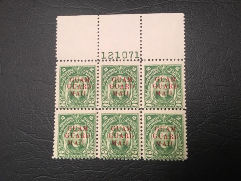 ICOLLECTZONE US Guam M7 Plate Block Red Overprint Attractive F/ VF NH
