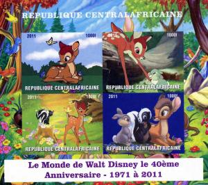 Central African Republic 2011 DISNEY Bambi Sheet (4) Imperforated Mint (NH)