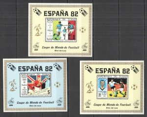 G0833 IMPERF CHAD FOOTBALL WORLD CUP 1982 !!! RARE LUX BL OVERPRINT 3BL MNH