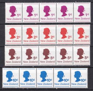 New Zealand # 651-654, Queens Silouette, Coil Strips of Five, NH, 1/2 Cat.