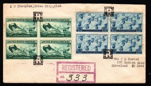 1946 Negative R Union City MI Fancy registered cover. Late useage a rare bird!