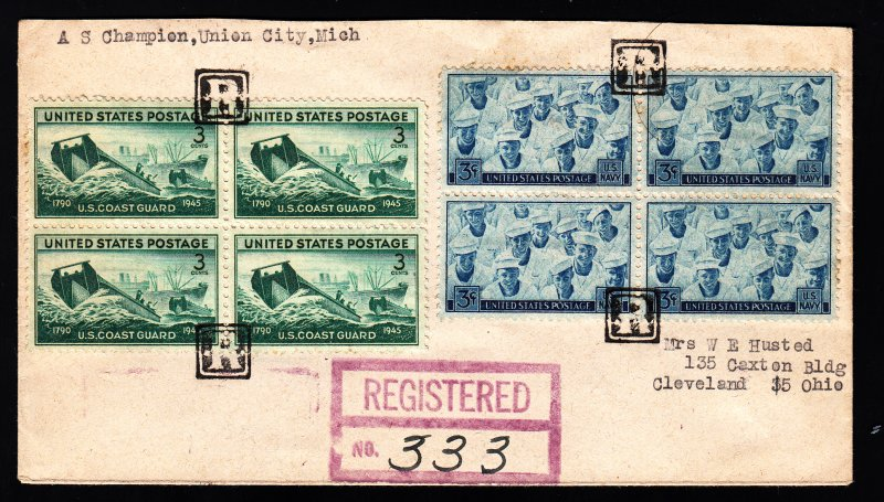 1946 Negative R Union City MI Fancy registered cover. Late useage a rare bird!