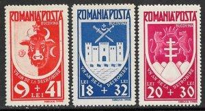 ROMANIA 1942 Liberation of Bucovina Semi Postal Set Sc B198-B200 MNH