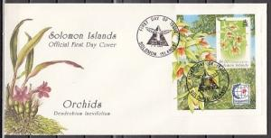 Solomon Is., Scott cat. 808. Orchids s/sheet, Singapore Expo. First day cover.