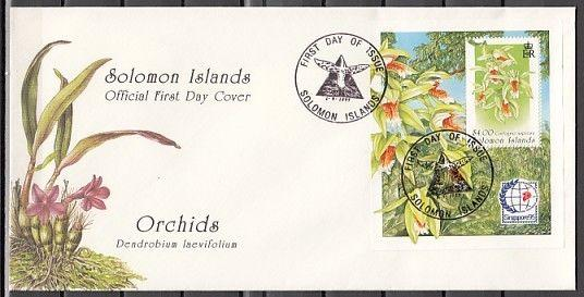 Solomon Is Scott cat. 808. Orchids s/sheet, Singapore Expo. First day cover