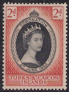 Turks & Caicos 1953 QE2 2d Coronation MM SG 234 ( R1168 )