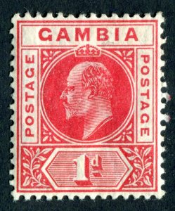 Gambia 1909 KEVII. 1d red. MC CA. Mint Hinged. SG73.