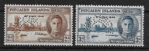 PITCAIRN ISLANDS SG9s/10s 1946 VICTORY SET SPECIMEN MTD MINT