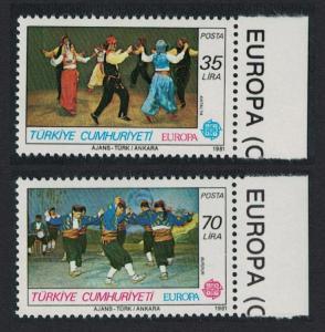 Turkey Folk Dances and Europa 2v 1981 MNH SG#2730-2731 MI#2546-2547