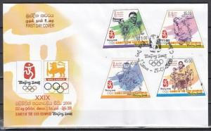Sri Lanka, Scott cat. 1658-1661. Beijing Olympics issue. First day cover.