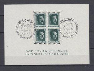 WWII Third Reich 1937 Block Michel 7 VFU Munchen Postmark