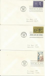 12 United States First Day Of Issue Covers Issued in 1962