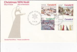 Canada # 650-653, Christmas Scenes, Cacheted First Day Cover,