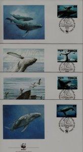 Tonga 915-18 FDC WWF-96/Whales