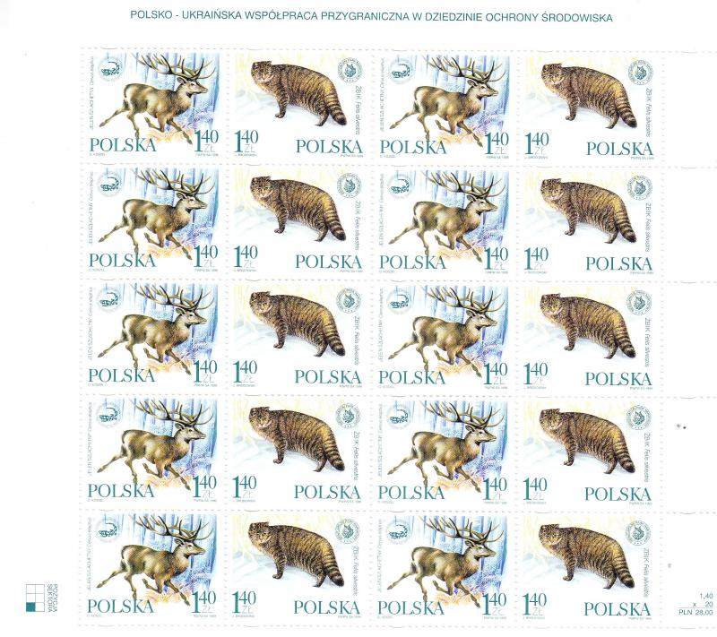 Poland 1999 Full Sheet Nature Conservation with the Ukraine. Wild Cat VF/NH(**)