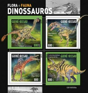 Guinea-Bissau - 2019 Dinosaurs on Stamps - 4 Stamp Sheet - GB190509a