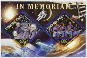 Haiti In Memory Soyouz 11 Shuttle Challenger Space Astronaut Souvenir Sheet of 2