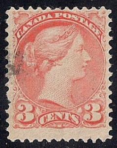 Canada #37 3 cent  Queen Victoria Orange Red Stamp used F