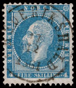 Norway Scott 4 (1856) Used F-VF, CV $20.00 C
