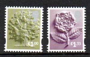 Great Britain England Sc 30-31 2015 £1.00 tree & £1.33 rose stamp set mint NH