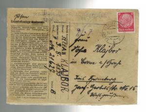 1942 Germany Cover ST George Gusen Mauthausen Concentration Camp Stefan Klajbor