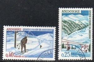 Andorra (Fr) Sc 169-70 1966 Winter Sports stamp set  used