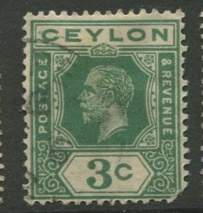 Ceylon #227 Used  1921  Single 3c Stamp