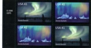 US Stamp #4203-4 MNH - Auroras MI Block of 4