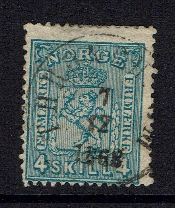 Norway SC# 14, used, Hinge Remnant, few pulled perfs - Lot 041617