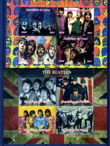 Chad 2015 The Beatles 2 Sheetlets of 4 values each MNH