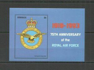 R0410 DOMINICA TRANSPORT BIRDS MILITARY AVIATION THE ROYAL AIR FORCE 1BL MNH