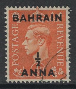 BAHRAIN SG71 1951 ½a on ½d PALE ORANGE FINE USED