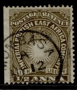 BRITISH EAST AFRICA QV SG4b, ½a deep brown, FINE USED. Cat £13.