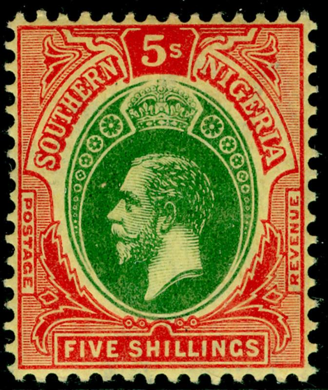 SOUTHERN NIGERIA SG54, 5s green & red/yellow, NH MINT. Cat £20.