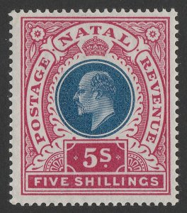 NATAL 1902 KEVII 5/- dull blue & rose.