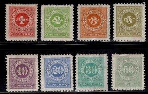 Montenegro Scott J1-J8 MH* postage due set