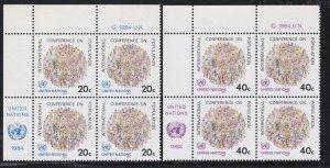 United Nations -New York #  417-418, Inscription Blocks of Four, NH, 1/3 Cat.