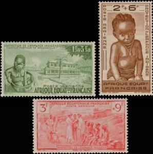 French Equatorial Africa Scott CB2-CB4 Mint never hinged.