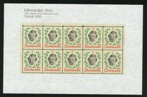 Denmark.  Christmas Seal Souvenir Sheet 1942/93 Reprint. Mnh Princess Margrethe