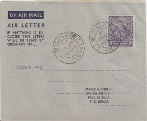 Barbados 6d Badge of the Colony Air Letter 1949 St. Lawrence S.O., Barbados A...