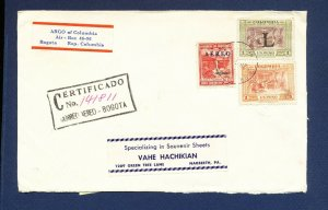 COLOMBIA   # C182 and others on certified cover to USA - 1960