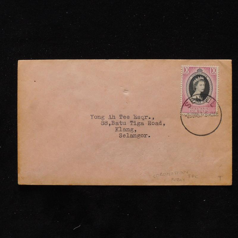 ZS-AB679 MALAYA - Coronation, 1953 Fdc, From Sentul To Selangor,Perlis Cover