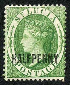 St Lucia SG25 1/2d Green wmk Crown CA Perf 14 Fresh M/Mint